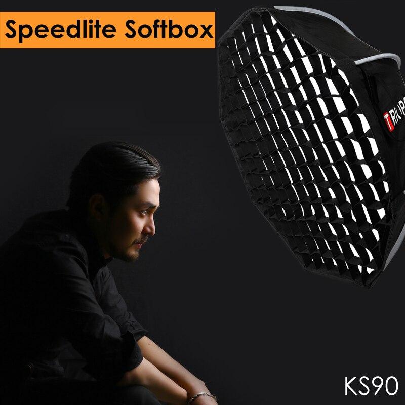 Triopo 90 см Speedlite Портативный Открытый софтбокс w/Honeycomb Сетка Открытый Вспышка восьмиугольный зонтик софтбокс для Canon Nikon Godox