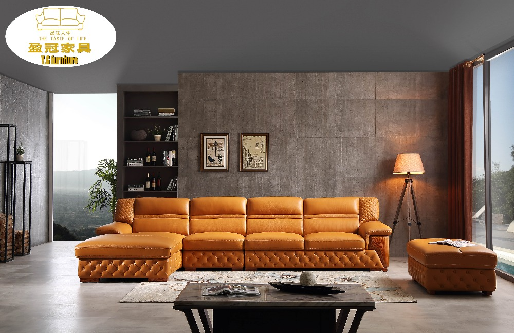 US $1800.0 |2018 New Promotion Modern Sectional Sofa Genuine Leather  Beanbag Muebles De Sala Luxury L Shaped Leather Sofa-in Living Room Sofas  from ...