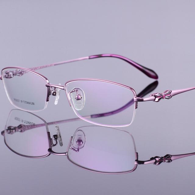 Chashma mulheres vidros ópticos de alta qualidade titanium optical óculos meia armação de óculos para as mulheres