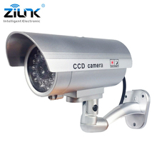 ZILNK Waterproof Dummy Camera Bullet Flashing Red LED Outdoor Indoor Fake CCTV Security Simulation Camera Silver Free Shipping