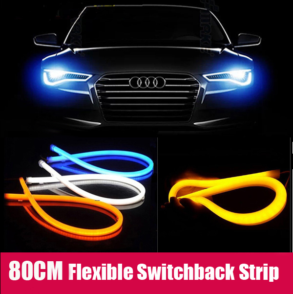 2x85cm White+Yellow/Blue Flexible Headlight Head lamp Switchback Strip Tube Style Angel Eye DRL Decorative Light Switch back car styling 2x white blue red yellow green flexible tube style headlight headlamp strip angel eye drl decorative light parking