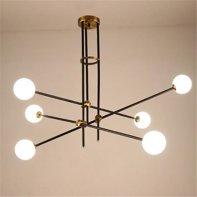 Nordic American Minimalist Iron Glass Ball Dining Room Chandelier Creative Living Room Bedroom Light Bar Light Free Shipping scene nordic creative bar minimalist dining room bedroom retro american single head wood japanese clothing store chandelier