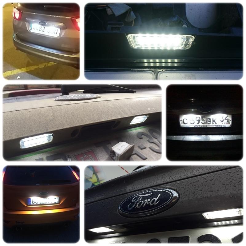 2x LED License Plate Light Bulbs Lamp For Ford Fiesta Focus C-Max Kuga Jaguar XF