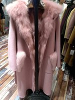2018 warm women natural sheep fur coat with hoody and real fox fur vest lining parka Detachable spring and autumn outwear vest