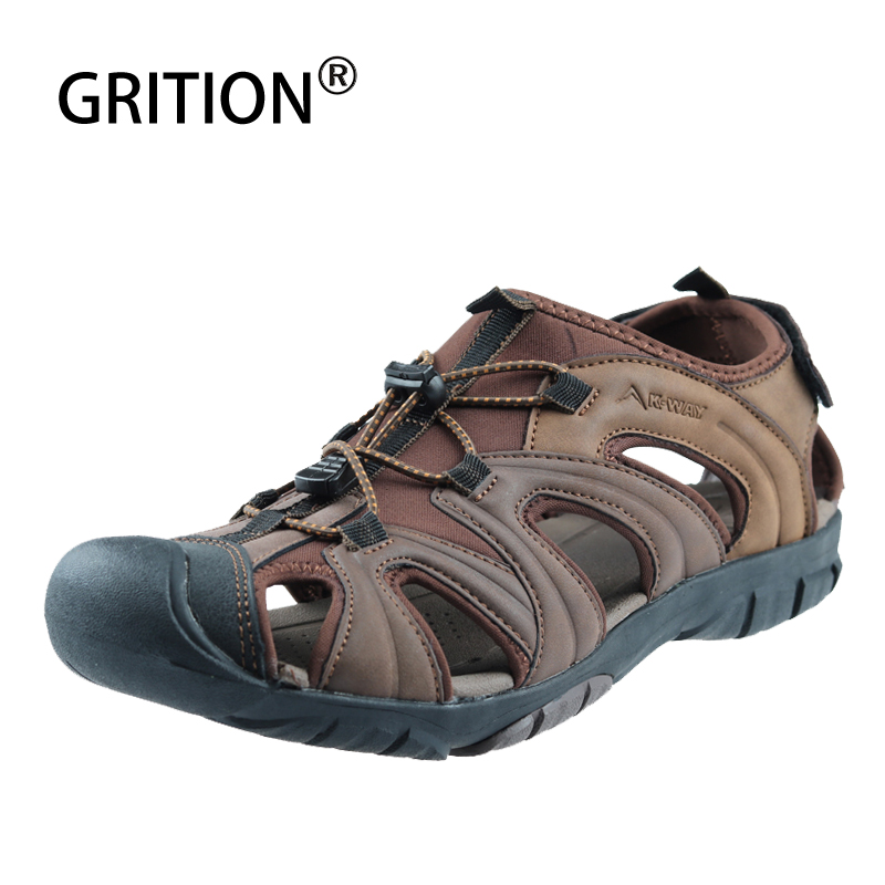 GRITION Sandals Men Walking Leather Rubber Sole Summer Outdoor Beach Shoes Flat Comfortable Male Water Close