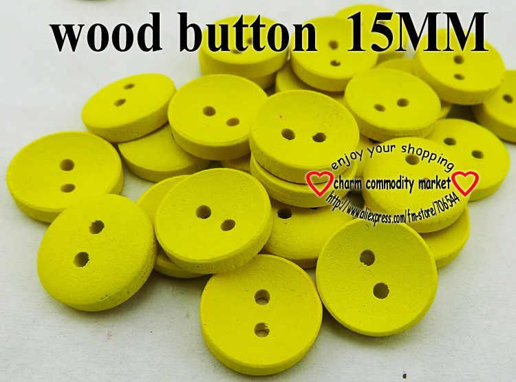 100 ADET 15 MM boyama sarı ahşap düğmeler ceket bot dikiş giysi aksesuarları 3-800-MCB