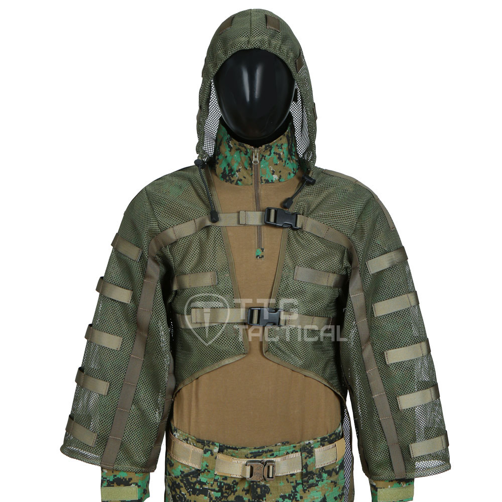 Breathable Airsoft Ghillie Suits Base Sniper Tog Ghillie Suit Foundation Hydration Compatible Army Green