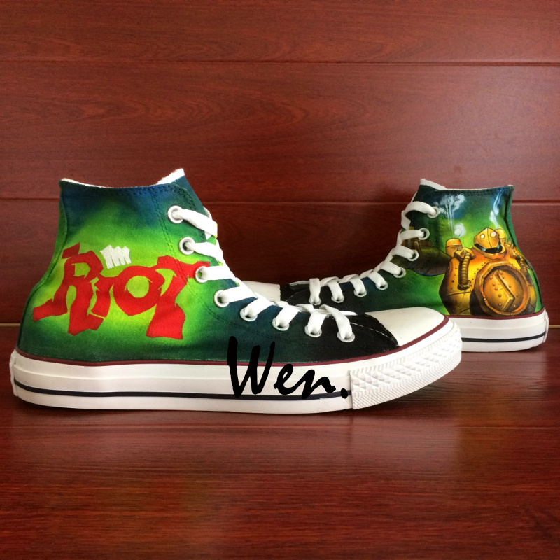ФОТО Wen Hand Painted Shoes Design Custom Game Riot Logo Blitzcrank Men Women's High Top Canvas Sneakers