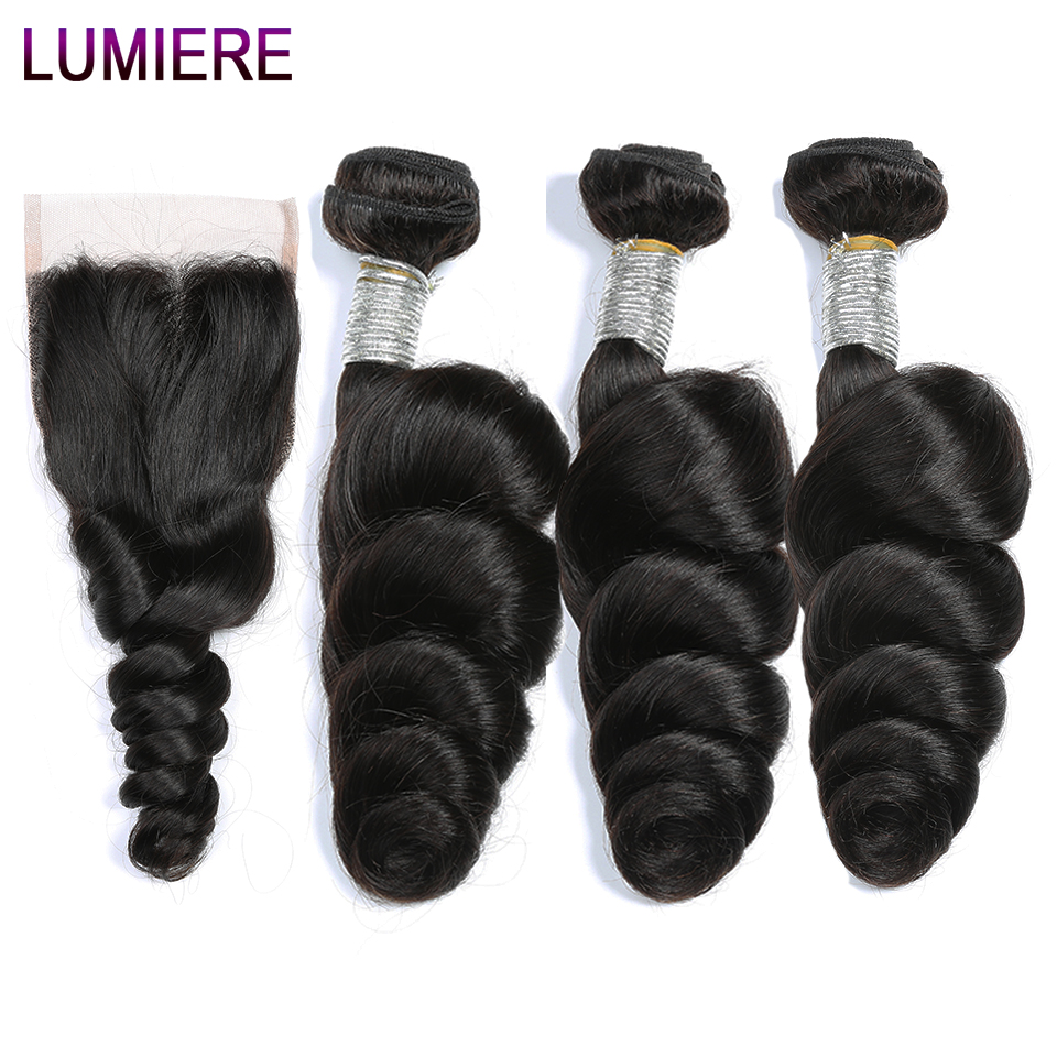 Lumiere Hair Indian Loose Wave 3 Bundles Human Hair With Closure Hair Extension Non Remy Human Hair Bundles With Closure