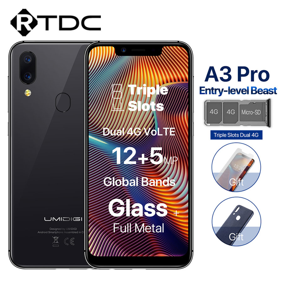 UMIDIGI A3 Pro Android 8.1 5.7''HD 19:9 Full Screen 3GB 32GB Quad Core Face Unlock 3300mAh 12MP+5MP Dual 4G OTG Mobile Phone-in Cellphones from Cellphones & Telecommunications    1