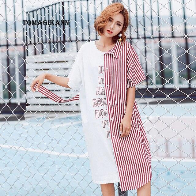 75ad477a676 2017 г. женские асимметрия поддельные из двух частей в полоску лоскутное  платье-рубашка элегантный