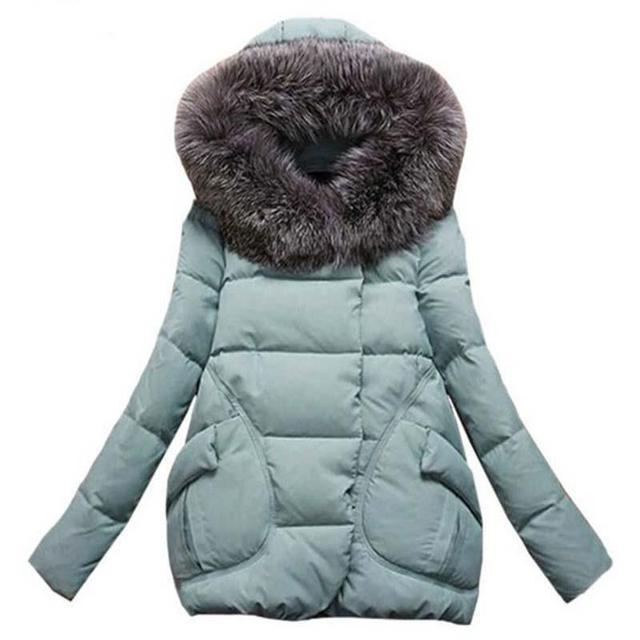 2016 Winter Jacket Women Fur Hood Cotton Padded Coat Parkas For Women Winter Abrigos Mujer Jaqueta Feminina