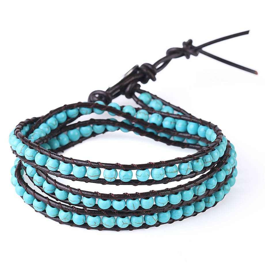 CSJA Leather Bracelets Green Turquoises Multilayer Triple Beaded Wrap Bracelet for Men Women 6mm Wide Handmade Boho Jewelry S141