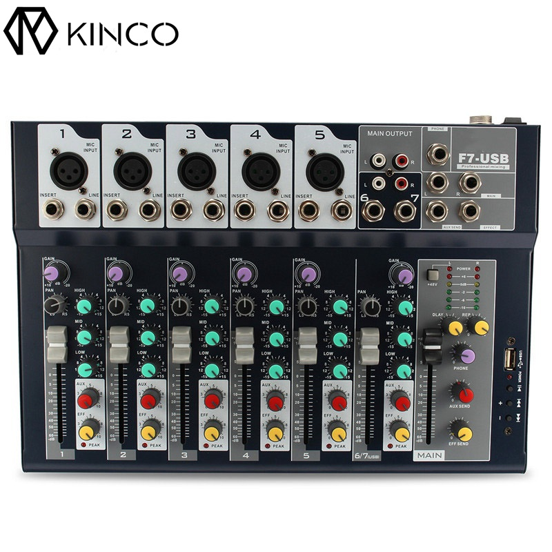 KINCO Professional 7 Channel Microphone Sound Mixing Mixer Audio Amplifier Console DJ Equipment Accessories Portable Audio audio mixer cms2200 3 cms compact mixing system professional live mixer with concert sound performance digital 24 48 bit effects