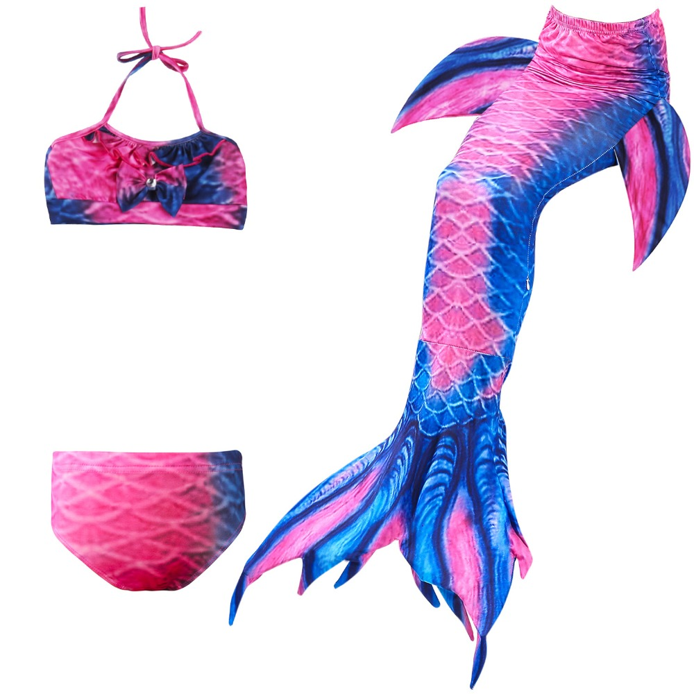 4Pcs/11 Colors Girls Bathing Suit Swimming Mermaid Tail Little Children Ariel Mermaid Costume Kids Swimsuit Cosplay No Monofin
