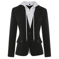 HIGH STREET Newest Stylish 2019 Designer Blazer Jacket Women's Zip Removable Hooded Single Buttons Casual Blazer