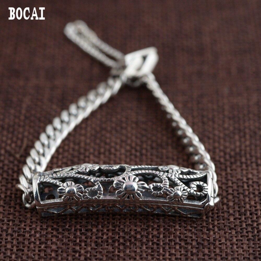 S925 solide argent antique style femelle nouveau produit creux courbe tube bracelet ouvert cadeau