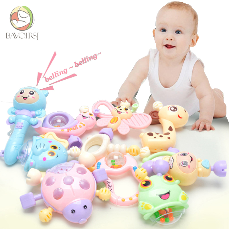 Bavoirsj 6pc-10pc/Set Cartoon Montessori Toys Teething Kids Educational Crib Mobiles Baby Toy For Girls Waldorf Rattle Toy T000