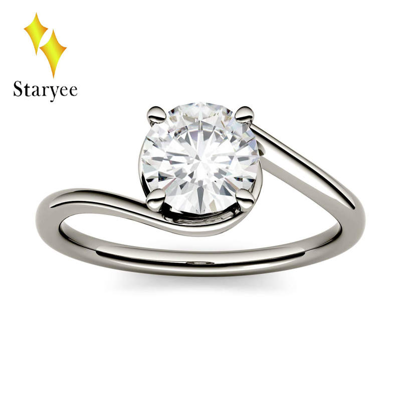 18K White Gold Round Brilliant Cut 1.0ct 6.5mm Moissanite Swirl Bypass Solitaire Lab Diamond Engagement Rings For Women Jewelry