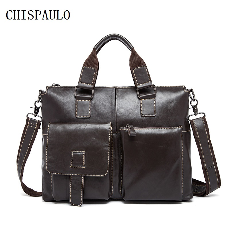 CHISPAULO Genuine Leather Bag Fashion Handbags Cowhide Men Crossbody Bags Men's Travel Bag Tote Laptop Briefcases Men Bags T660 yishen genuine leather bag men bag cowhide men crossbody bags men s travel shoulder bags tote laptop briefcases handbags bfl 048