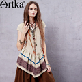Artka Women's Summer New Boho Style Ethnic Embroidery Patchwork T-shirt O-Neck Short Sleeve Irregular Hem T-shirt TA14157X