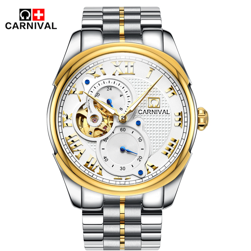men automatic mechanical watch hollow steel fashion business waterproof male table Tourbillon 2016 Carnival watches Gift choice selling door magnetic stopper suction stainless steel alloy wall top 4 color