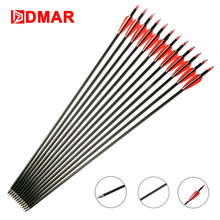 DMAR 12pcs 30 inch 7.8mm Hunting Archery Carbon Arrows Spine 600 for Recurve Bow Compound Long Accessories