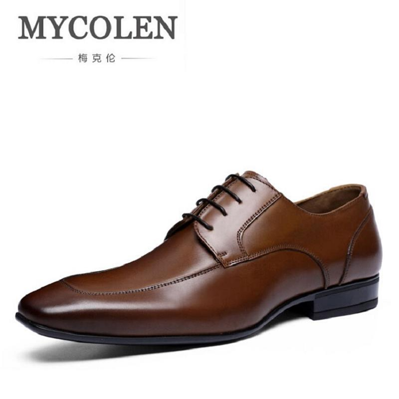 MYCOLEN Luxury Brand Men Flats Winter High Quality Genuine Leather Shoes Mens Lace Up Business Dress Brogue Shoes For Men mycolen high quality men white leather shoes fashion high top men s casual shoes breathable man lace up brand shoes
