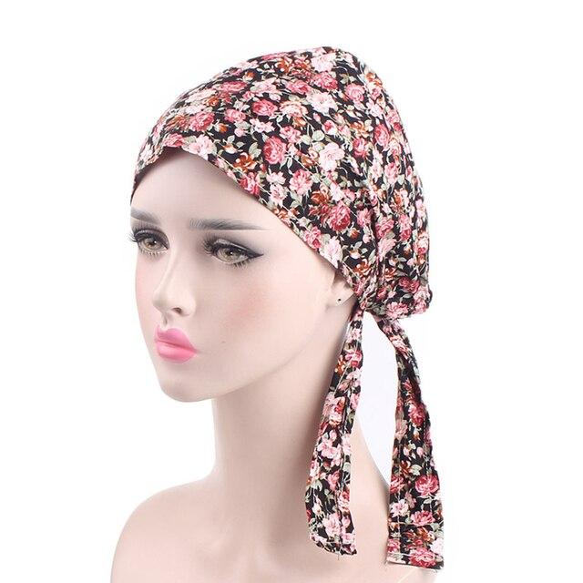 Fashion Women s Head Scarf Chemo Hat Bandana Tichel Cancer Turban Pre-Tied Headwear  Caps Flower Print 72594a57562e