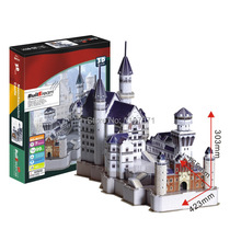 Paper Model Diy Neuschwanstein Castle Enlighten Blocks Construction Educational playmobil Toys scale models Sets brinquedos