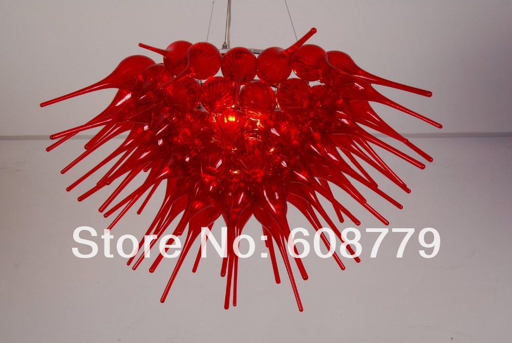 Wedding Party Chain Hanging Red Flush Mount Led Crystal Chandeliers