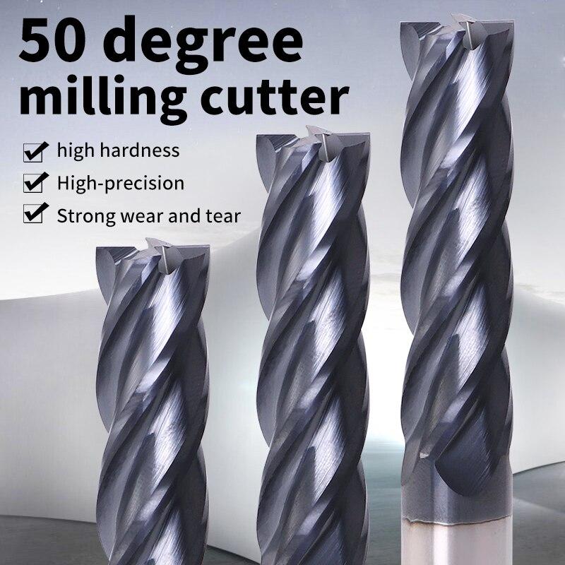 ZGT Endmills Alloy Carbide Tungsten Steel Milling Cutter End Mill HRC50 4 Flute 4mm 6mm 8mm 10mm 12mm Metal Cutter Milling Tools
