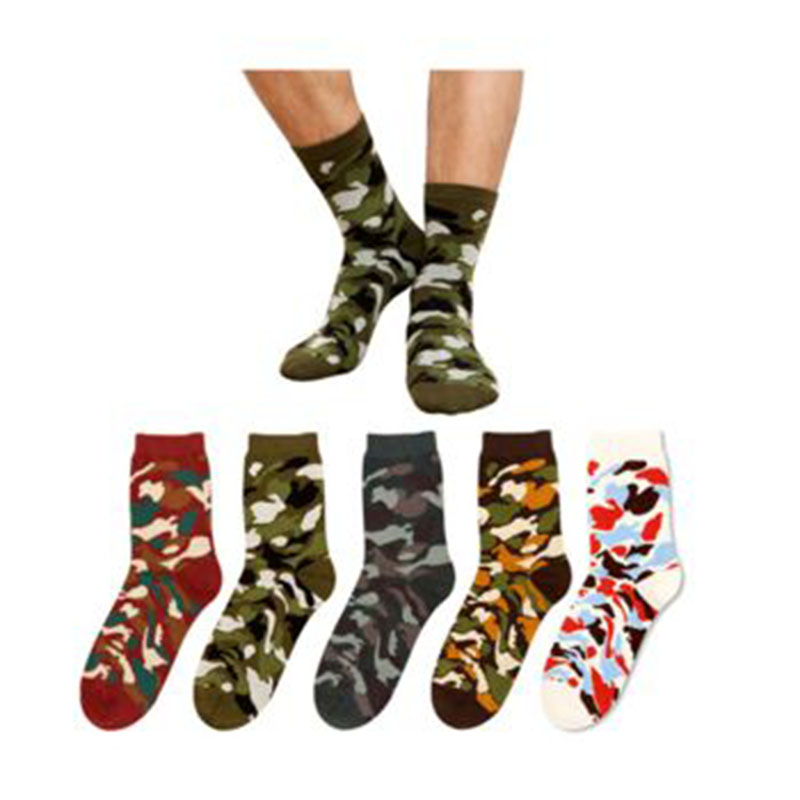 2 Pairs Camo Hunting CS Ankle Socks Soft Cotton Camping Crew Forest Stockings Cycling Bowling Camping Hiking Sock Military Green