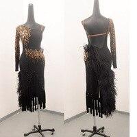 2018 NEW latin dance dress women girls flamengo skirt flapper dress salsa latin dance competition dresse black feather