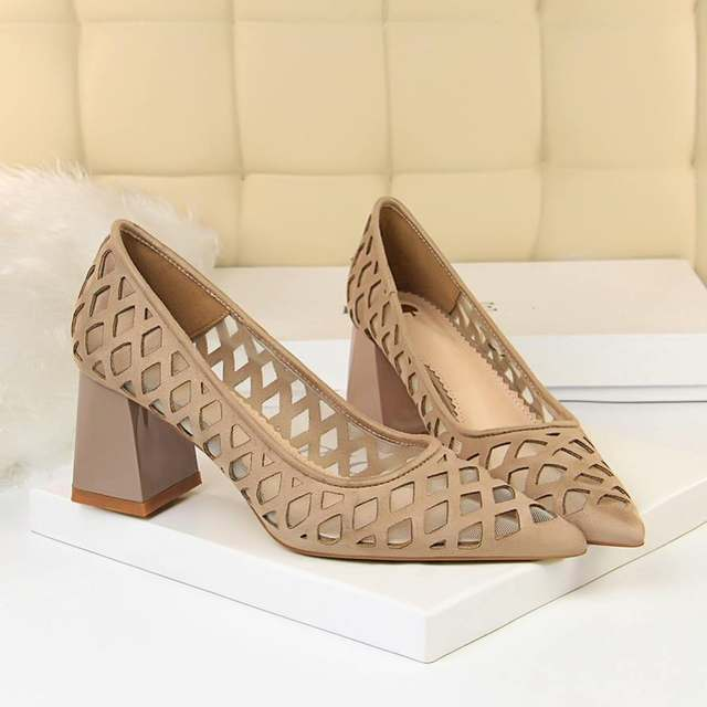 Newest Pumps Breathable Net Med High Chunky Heel Dress