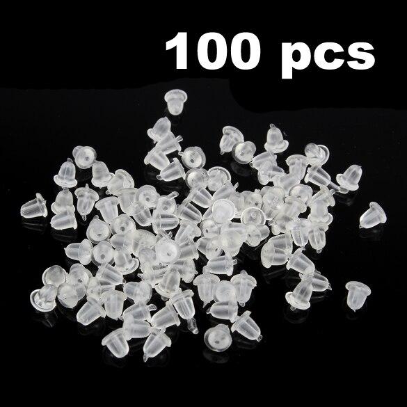 100 Pcs/Set Soft Clear Earrings Stud Back Stopers Transparent Plastic Plugs @CX17