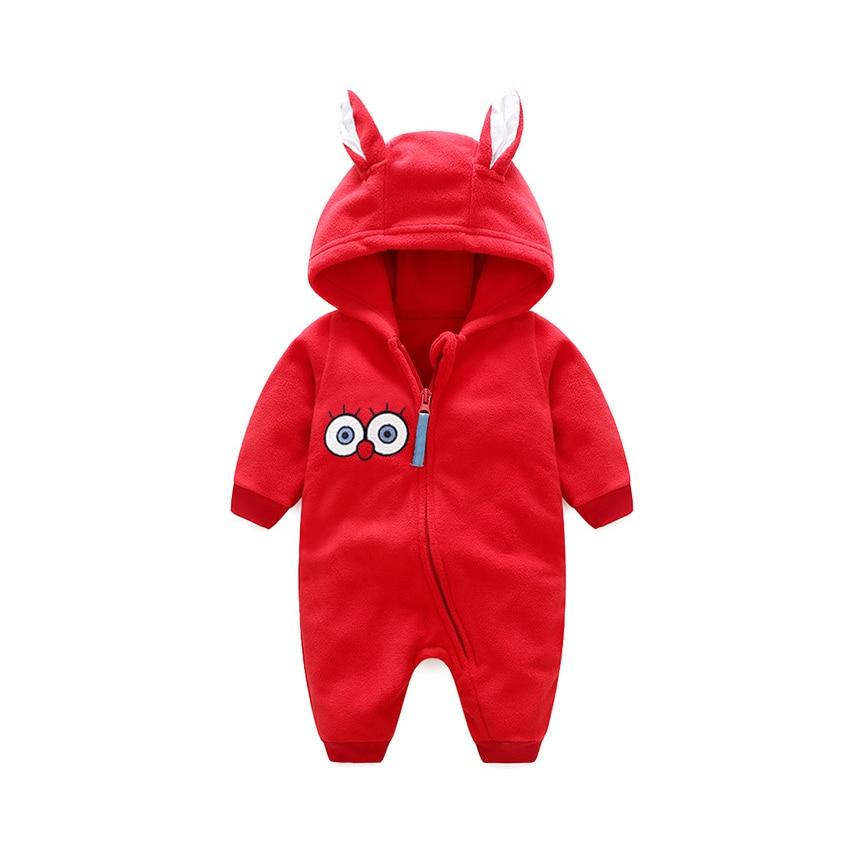 Baby Rompers Cartoon Eyes Polar Fleece Long Sleeve Baby Boy Girl Clothing Red Yellow Zipper Hooded Newborn Romper new clothes
