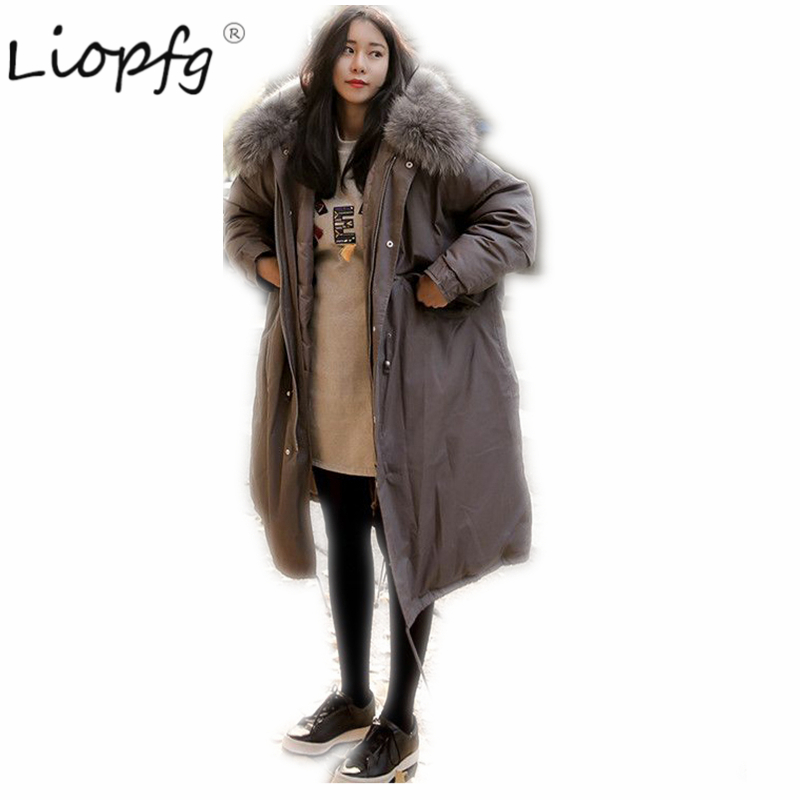 2017 winter Ukraine warm pakar  Coat in the long section of the big hooded cotton new students female cotton jacket XW3445