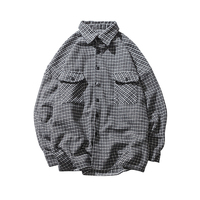 2018 Spring style day is a small and fresh men's check collar shirt harbor wind leisure long sleeve black Free shipping
