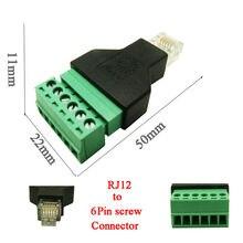 10 sztuk darmowa wysyłka RJ12 telefoniczny zestaw słuchawkowy 6P6C wtyczka złącze zaciskane kabel płaski RJ12 do złącze śrubowe RJ12 adapter