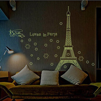 Loves In Paris Eiffel Tower Fluorescent Luminous Stickers Wall Decals