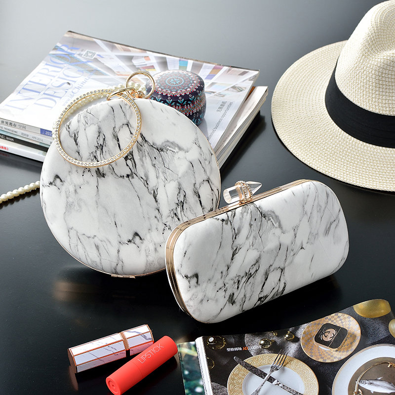 Sac à main pour femme motif marbre paquet PU sac à main rond épaule bandoulière sac à dîner petit sac à main pochettes sac Bolsa Feminina