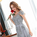 Short sleeve A-line red grey sweat lady girl women princess bridesmaid banquet party ball dress gown free shipping