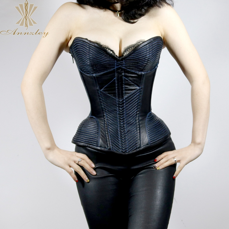 Annzley Top Quality Side Zipper Genuine Leather Steel Boned Overbust Corset