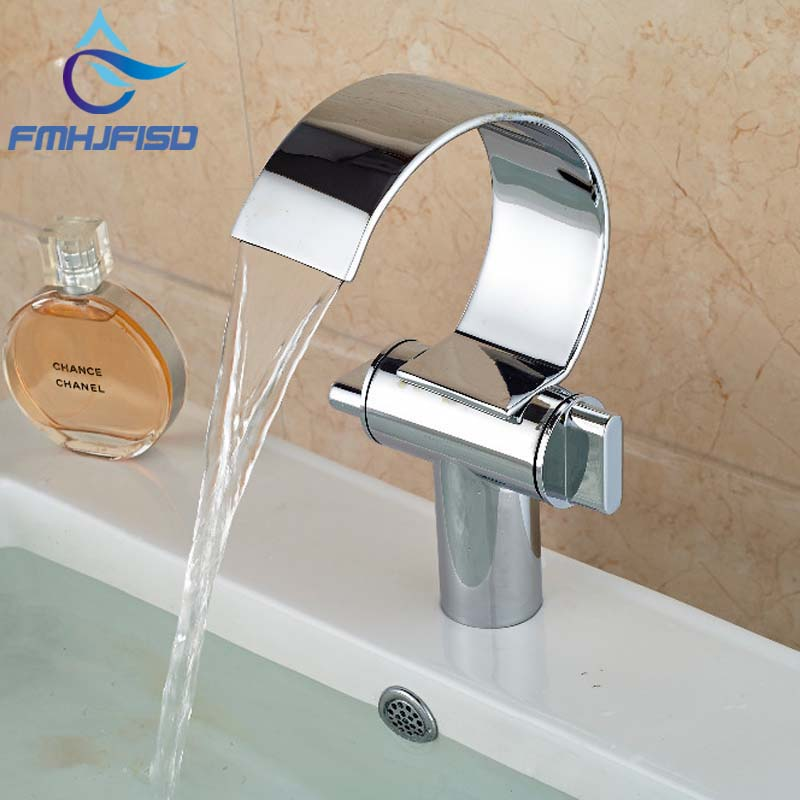 Chrome Brass Waterfall Bathroom Basin Faucet Dual Handle Sink Mixer Tap Hot & Cold Mixer ax shape waterfall basin faucet dual handle brass chrome bathroom mixes deck mount hot and cold tap
