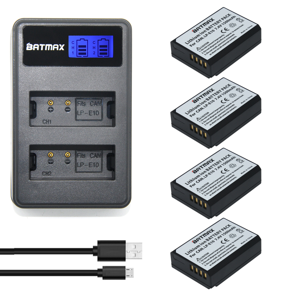 цена на 4x LP-E10 LP E10 LPE10 Camera Batteries +LCD USB Dual Charger for Canon EOS 1100D 1200D 1300D Kiss X50 X70 X80 Rebel T3 T5 T6