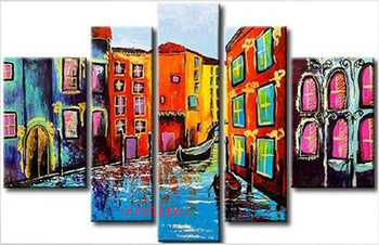 Handmade 5 Pcs Modern Picture On Canvas Building Oil Painting For Living Room Wall Pictures Abstract Venice Landscape