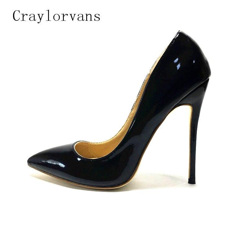 모든 진짜 가죽 여성 브랜드 7 cm 10 cm 12 cm 하이힐 sheos 웨딩 신발 펌프 블랙 누드 얇은 하이힐-에서여성용 펌프부터 신발 의  그룹 1