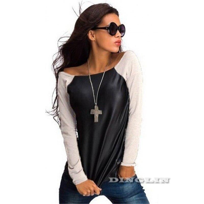 HTB1kVaQLpXXXXaRXXXXq6xXFXXXP - Tops Women Black Long Sleeve Leather T-Shirt Casual
