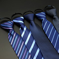 Men Formal 8cm Striped Zipper Pre-tied Neckties Solid Wedding Business Neck Ties BWTRS0005